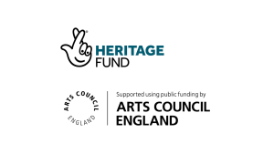 Heritage lottery logo and Arts Council England logo
