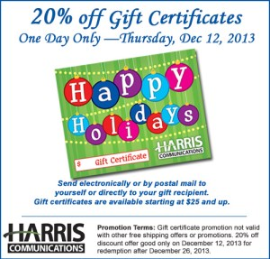 harris communication gift certificates