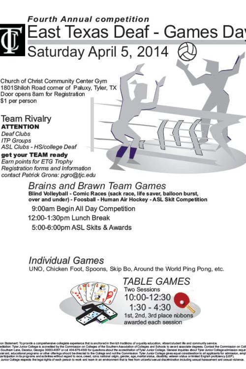 April 5 4th annual East TX Deaf Game Day