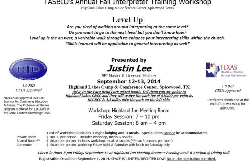 TASBID2014 Registration Form Fall Interpreter Workshop