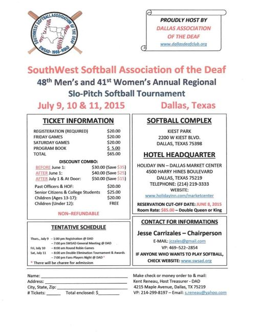 Southwest Softball Association of the Deaf 2015 flyer
