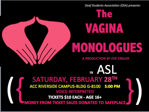 The Vagina Monologues 2015 Flyer