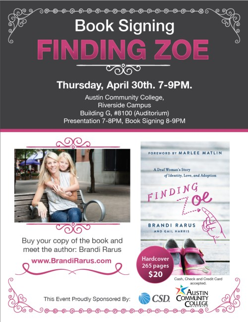 finding zoe flyer austin april 30 2015