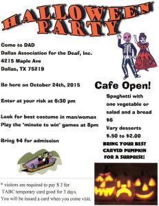 DAD Halloween Party 2015 flyer