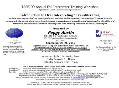 TASBID2015 Registration Form Fall Interpreter  Workshop