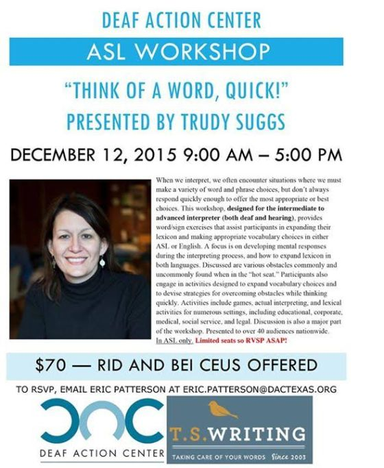 trudy suggs workshop dac flyer