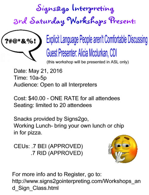 signs2go workshop may 21 2016 flyer