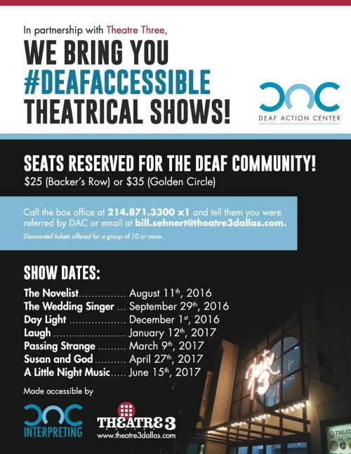 DAC Partnership with Theatre Three Accessible Interpreted Shows