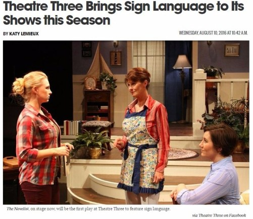 Theatre Three Brings Sign Language to Its Shows this Season