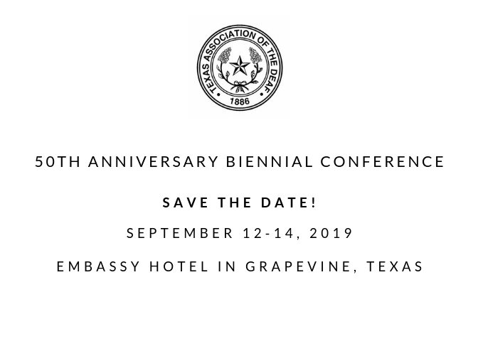 TAD 50th Anniversary Biennial Conference Sept 12-14, 2019 – Deaf