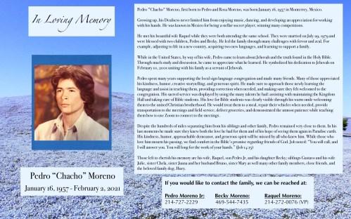 "Pedro ""Chacho"" Moreno Obituary"