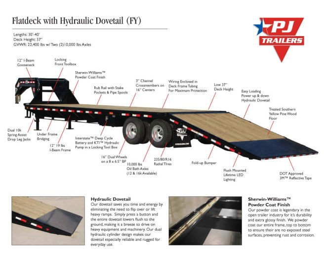 flatdeck with hydraulic dove fy  trailer country arkansas