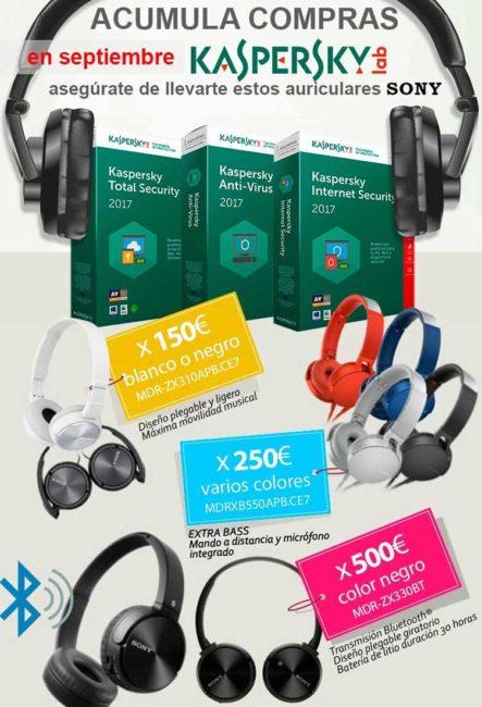 promo auriculares sony con kaspersky