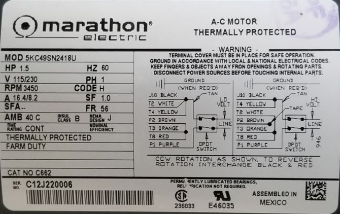 marathon c662 15 hp 3450 rpm 115/230 volts tefc 56 new surplus  electric motor at dealers industrial