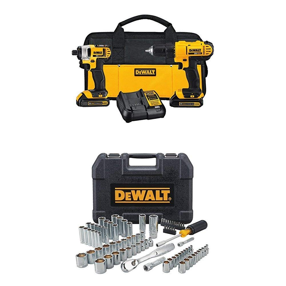 DEWALT DCK240C2 20v Lithium Drill Driver/Impact Combo Kit (1.3Ah) WITH 84pc Mechanics Tool Set, Original Price $246.99  Now ONLY $150.00