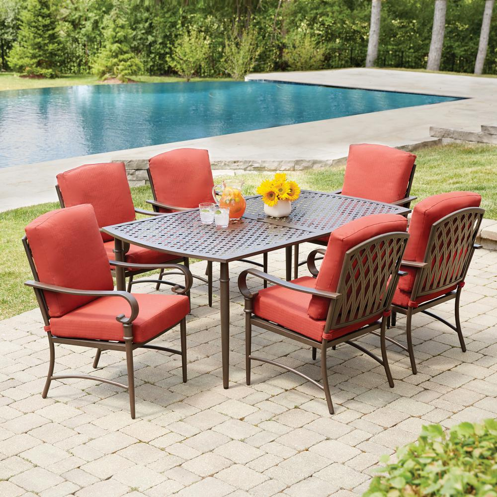 Today only! Oak Cliff 7-Piece Metal Outdoor Dining Set with Chili Cushions only $399! ($200 off)
