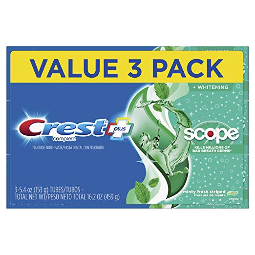 3 Pack Crest Complete Whitening + Scope Toothpaste only $4.97 with coupon!