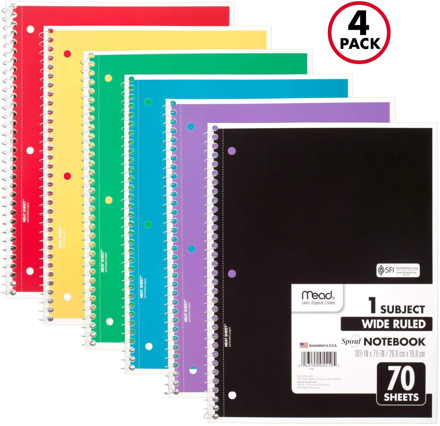 4 Pack Mead Spiral Notebooks only $2.36 with coupon! (was $7.36)