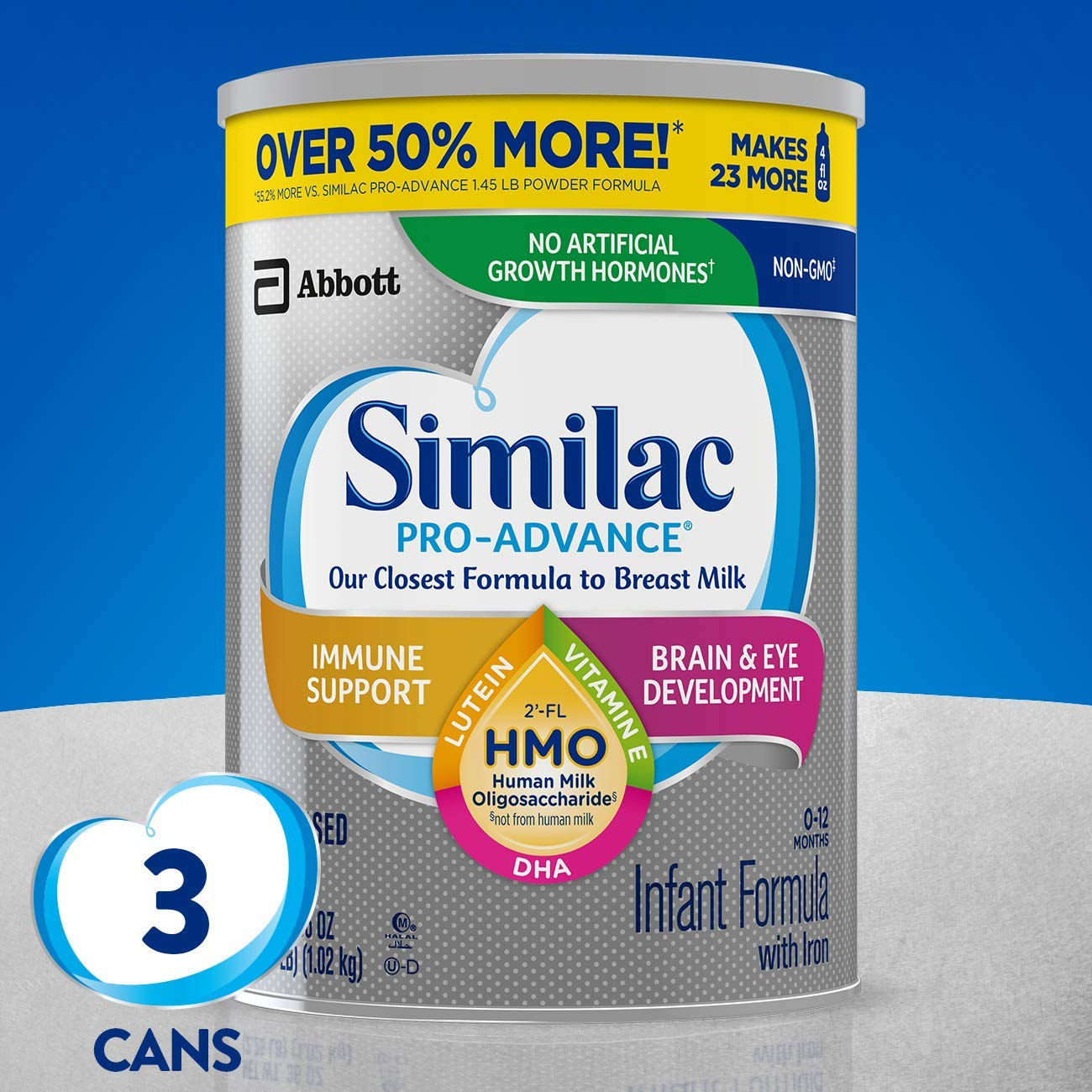 Similac Pro-Advance Non-GMO Infant Formula with Iron, 3 Count (One-Month Supply) only $64.80! (was $129)
