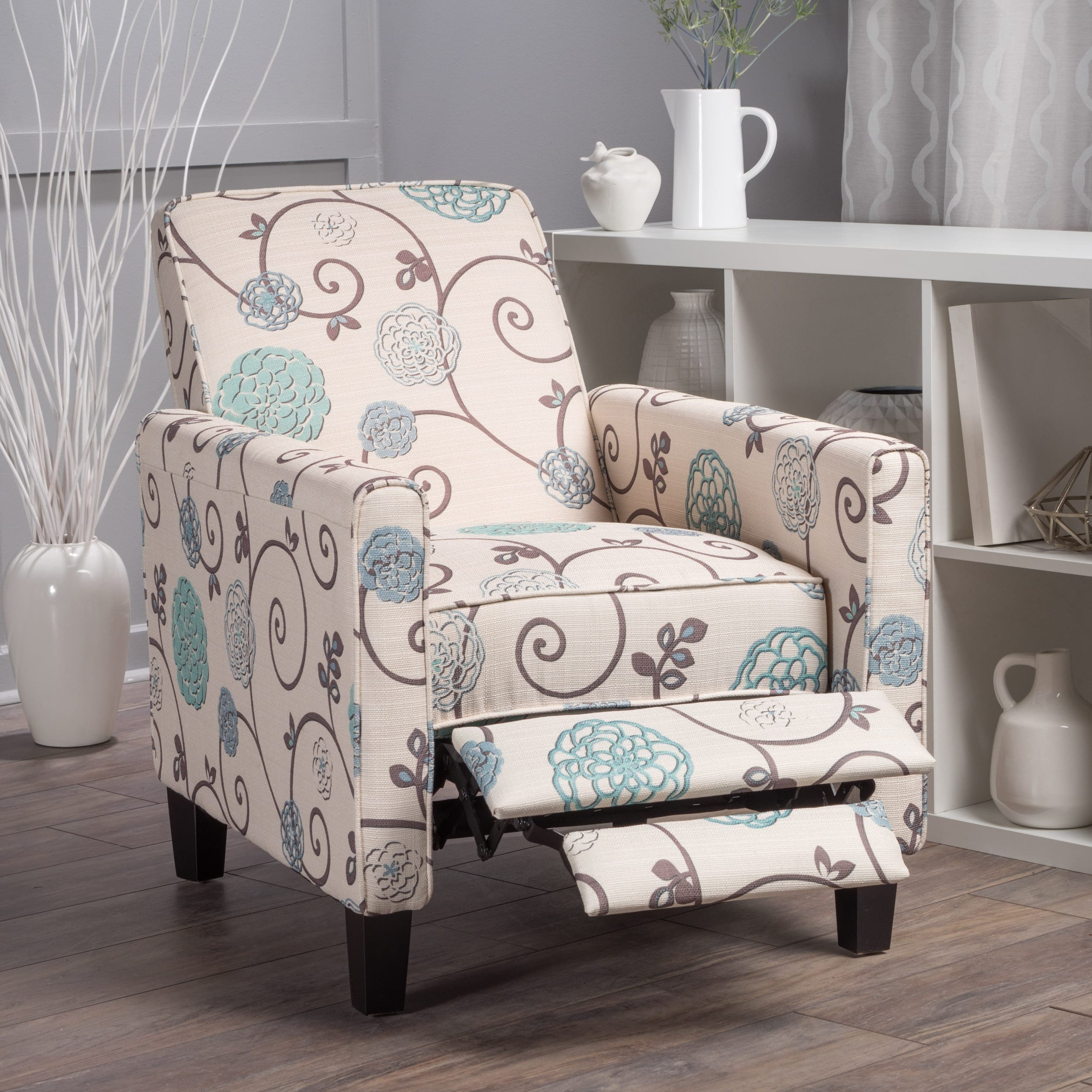 Overstock: Christopher Knight Home Darvis Floral Fabric Recliner Club Chair  For $186.13 + Free Shipping.