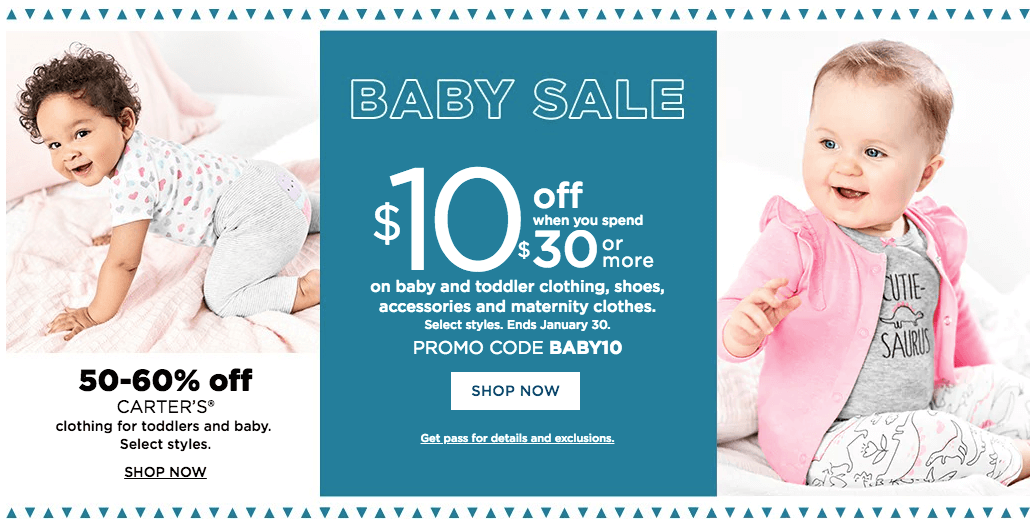 5bf1e5df478 Kohl s    10 Off  30 Baby Purchase + Extra 30% Off + Kohl s Cash + Free  Shipping.