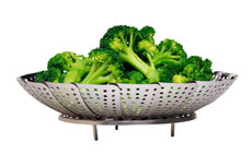 Photograph of broccoli in a steamer