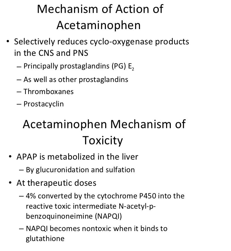 acetaminophen Mechanism