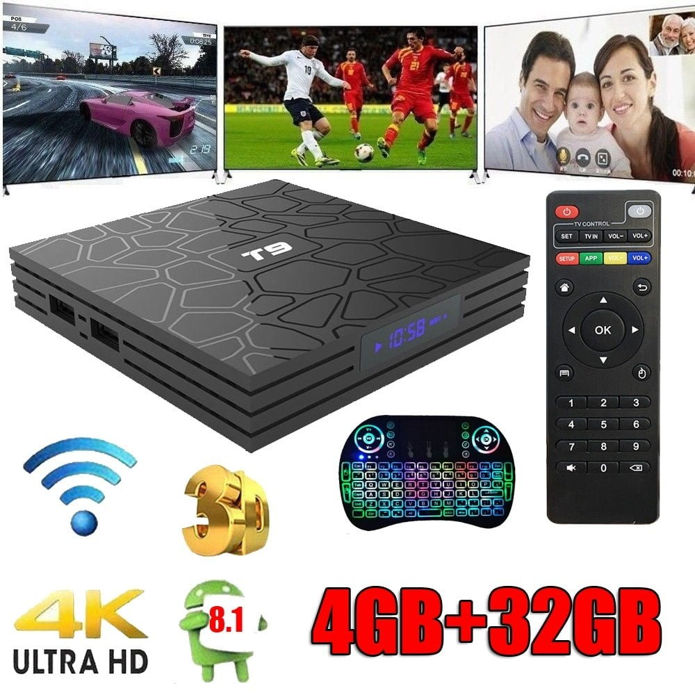 Android Oreo T9 Smart TV Box 4+32GB Quad Core BT 4 0 WIFI 4K Media