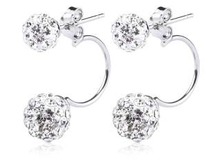 Fashionable Rhinestone Crystals Double Beaded Balls Shinning Stud Earrings