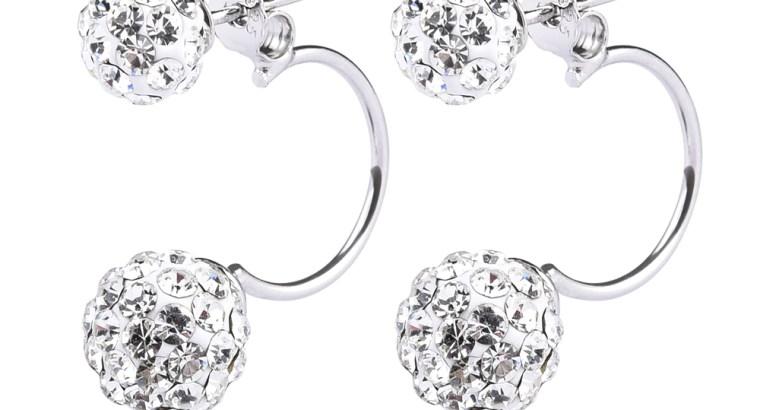 Fashionable Rhinestone Crystals Double Beaded Balls Shinning Stud Earrings