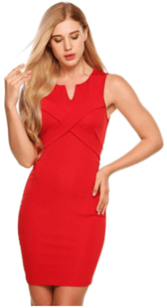Women Sexy V-neck Solid Sleeveless Business Pencil Bodycon Mini Dress Red 1