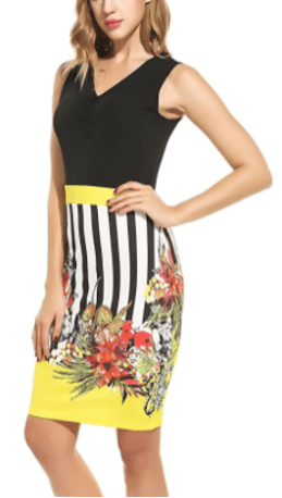 Women's Floral Printed Wear to Work Business Bodycon Pencil Dress at Amaz Yellow 2