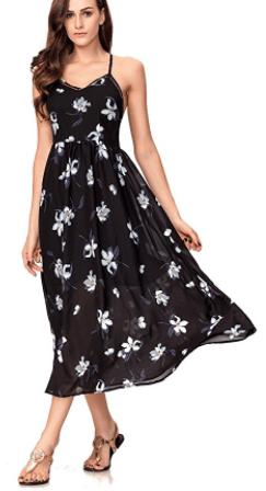 Women's Sexy Spaghetti Strap V-Neck Floral Print Casual Maxi Dress