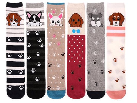 Bobo 5 Pack Girl Cartoon Animal Cat Bear Fox Cotton Over Calf Knee High Socks