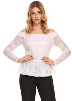 d1257119c09b Zeagoo Women Sexy Off The Shoulder Tops Floral Lace Peplum Blouse Slim Fit  Shirt