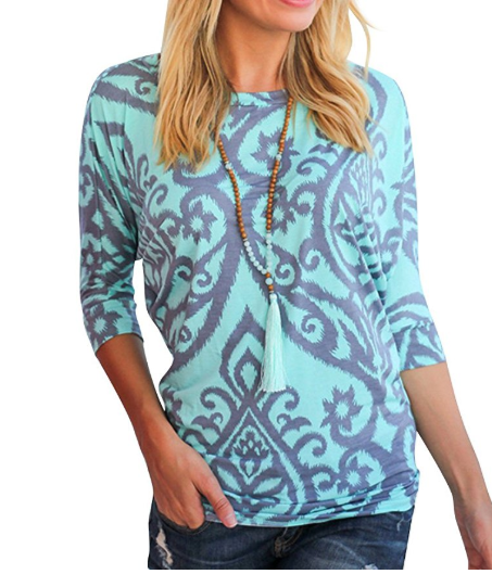 2018-06-14 14_52_58-Amazon.com_ Nlife Women Casual Floral Print Blouse Round Neck 3_4 Sleeve Tunic T