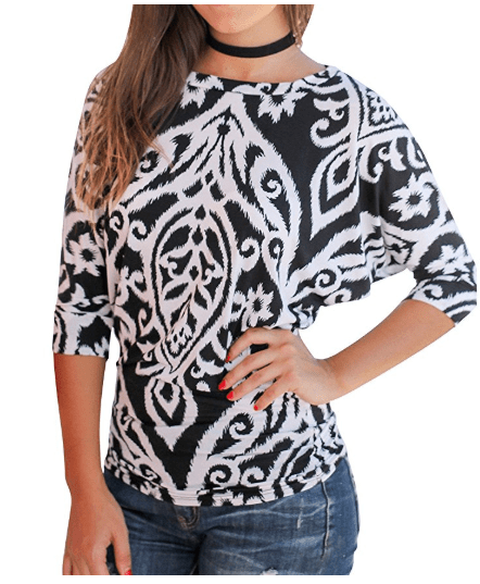 2018-06-14 14_53_37-Amazon.com_ Nlife Women Casual Floral Print Blouse Round Neck 3_4 Sleeve Tunic T