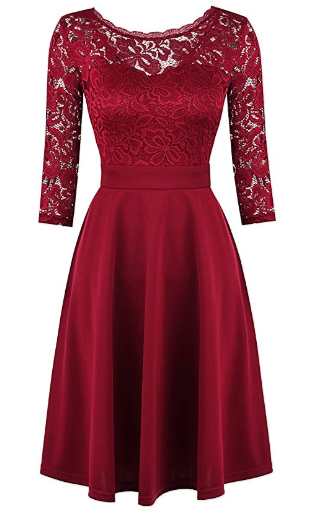 2018-06-14 17_13_54-Mixfeer Women's Vintage Floral Lace Cocktail Swing Dress With 3_4 Sleeve at Amaz
