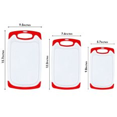 3 Packs Chopping Board with Food Grade PP Anti-Microbial and Deep Drip Juice Groove for Kitchen Tool-Red 6