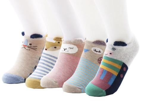 5 Pairs Women's No-show Socks, Novelty Animal Cotton Liner Socks