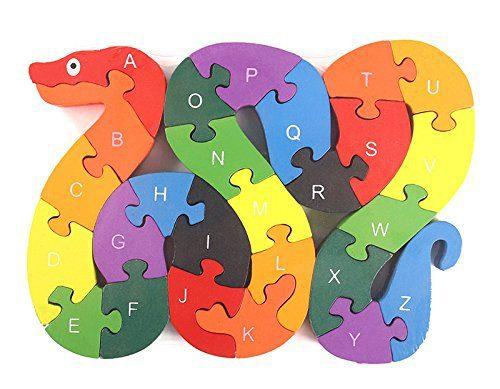 Alphabet Jigsaw Puzzle Building Blocks Animal Wooden Puzzle