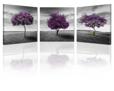 Canvas Wall Art Tree of Life Deep Purple and Gray Lawn