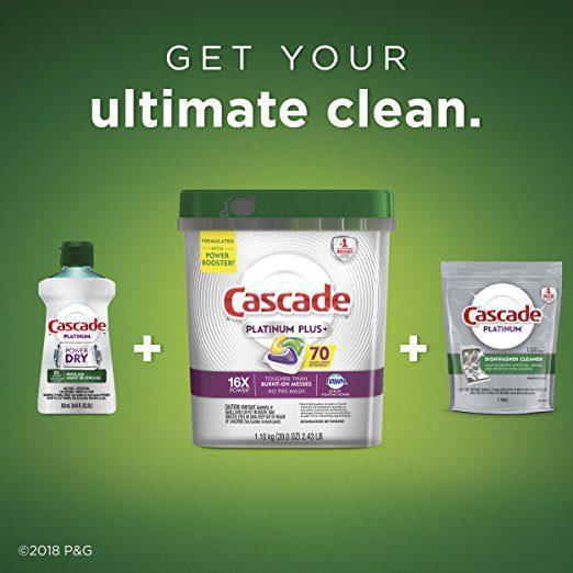 Cascade Platinum Plus Dishwasher Detergent Actionpacs, Lemon, 70 Count 4