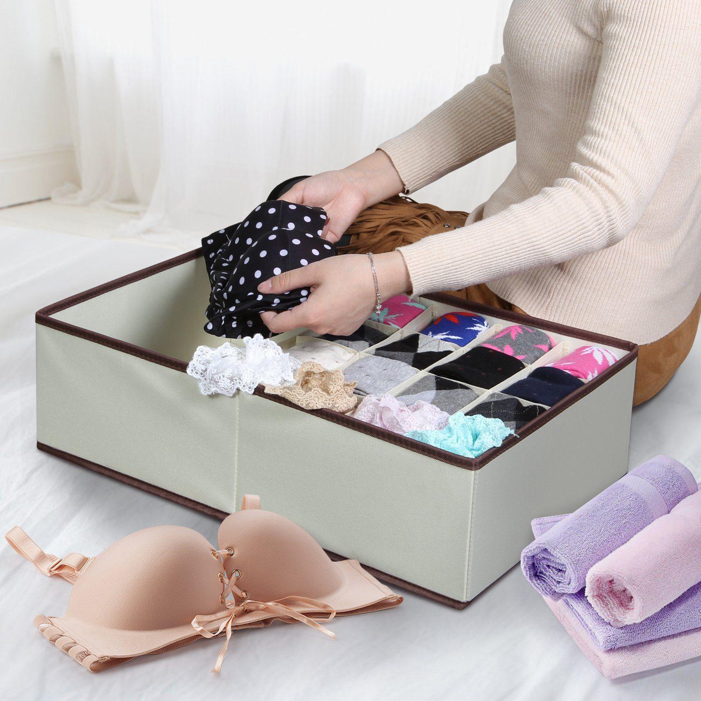 Closet Underwear Organizer Drawer Divider for Bras Socks Ties Scarves, Beige 3