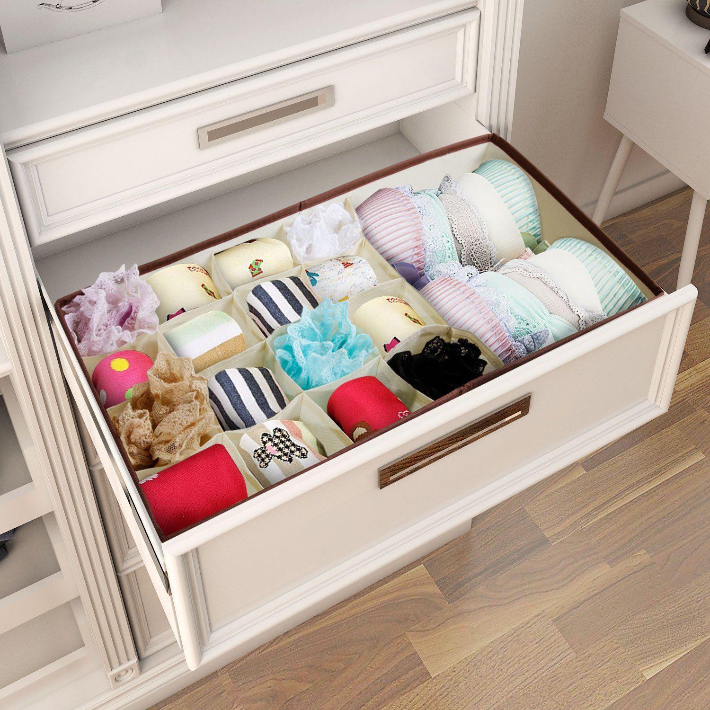Closet Underwear Organizer Drawer Divider for Bras Socks Ties Scarves, Beige 4
