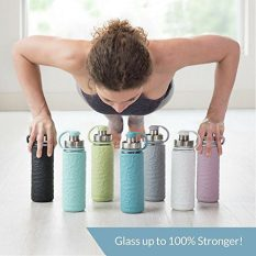 Glass Water Bottle with Silicone Sleeve- 19.5 ounces, BPA-Free, Wide Mouth, Leak Proof Design 1