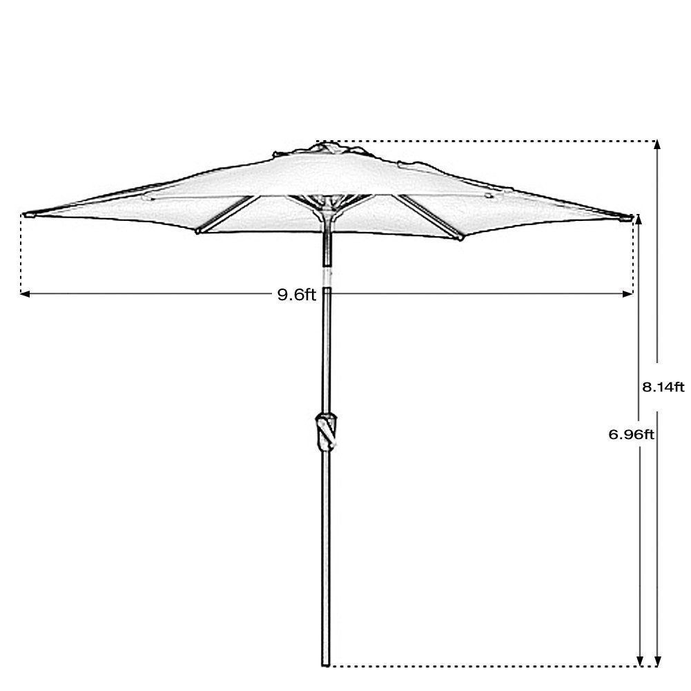 Outdoor Market Umbrella with Push Button Tilt and Crank, Patio Umbrella, 9.6 Ft, Red 7