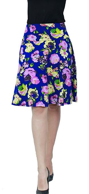 Women-Summer-Floral-Hight-Waisted-Knee-Length-Midi-Skirt-with-Pocket 2