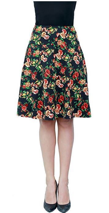 Women-Summer-Floral-Hight-Waisted-Knee-Length-Midi-Skirt-with-Pocket