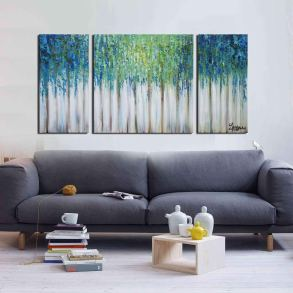 Deals Finders Amazon 3 Piece Gallery Wrapped Abstract Oil